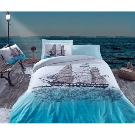Cotton Box Çift Kişilik Maritime Ranforce Nevresim Takımı Ship Mavi