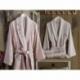 Dantela Vita 3D Nakışlı Bambu Aile Bornoz Seti Fancy Pudra Taş