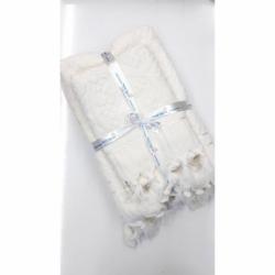 Julie jakarlı Bağlamalı 2'li Banyo Havlu Seti Beyaz