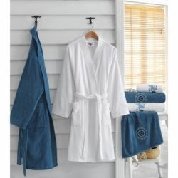 Cotton Box Nakışlı Aile Bornoz Seti Beyaz Mavi