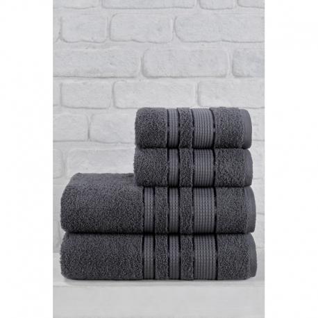 Julie ipeksi 4 Parça Banyo Havlu Takımı Antrasit