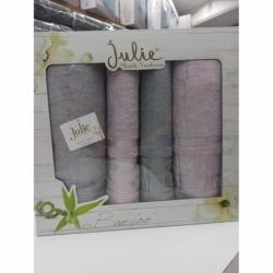 Julie 4 Parça Bambu Banyo Havlu Takımı Gri Lila