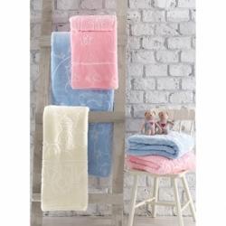 Cotton Box Emboss Bebek Battaniye Mavi
