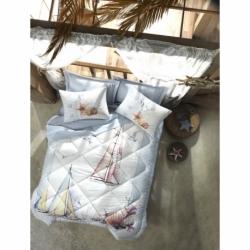 Cotton Box Tek Kişilik Maritime Pamuklu Uyku Seti Yacht Mavi
