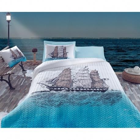 Cotton Box Çift Kişilik Maritime Dört Mevsim Ship Mavi
