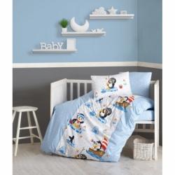 Cotton Box Bebek Nevresim Takımı Penguen Mavi